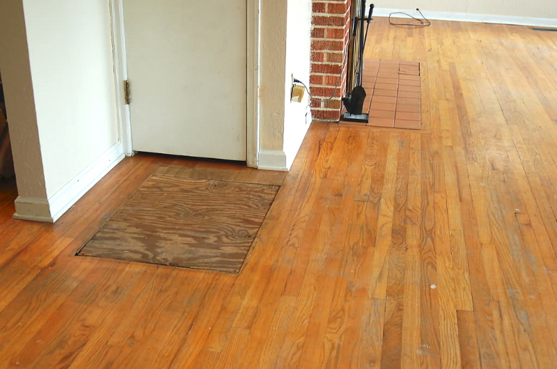 Salem oregon hardwood floor patch and repair before for Oregon floor