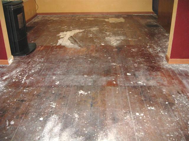 Old fire damaged fir flooring restoration-before