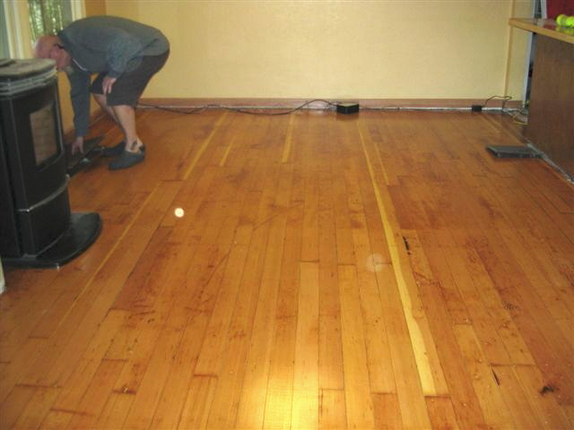Old fire damaged fir floor restoration - after