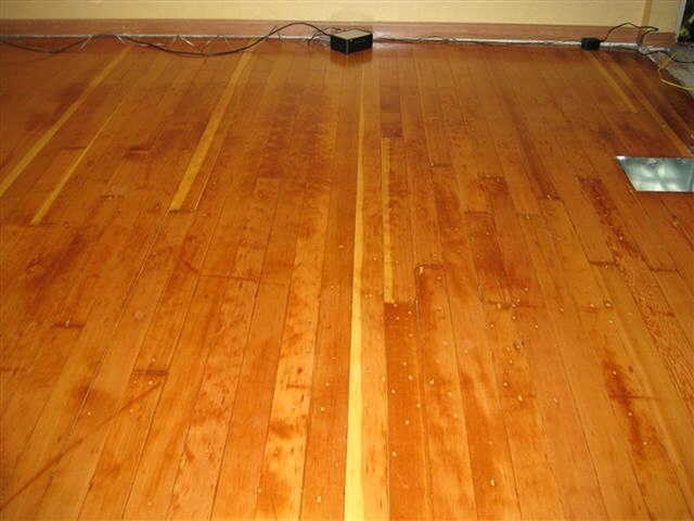 Old fire damaged fir floor rstoration - after