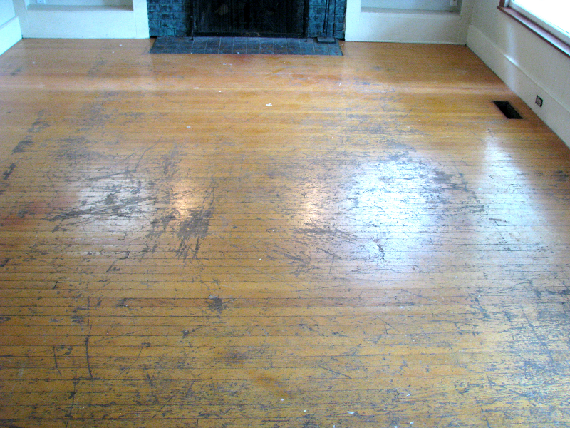 Portland Oreon topnail white oak floor refinish-before