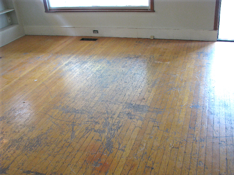 Portland Oregon white oak top nail hardwood floor - before