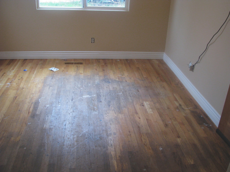 Salem Oregon hardwood floor refinish - before