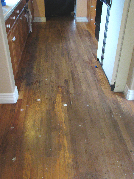 Salem Oregon red oak floor refinish - before